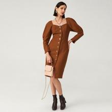 Vestido de manga gigot de mezcla de lana