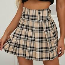 Plaid Print Pleated Skirt