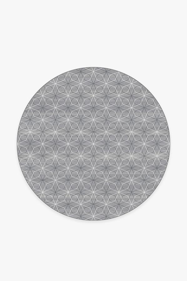 Washable Rug Cover | Geometrix Grey Rug | Stain-Resistant | Ruggable | 6' Round