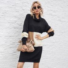 Turtleneck Color Block Sweater Dress