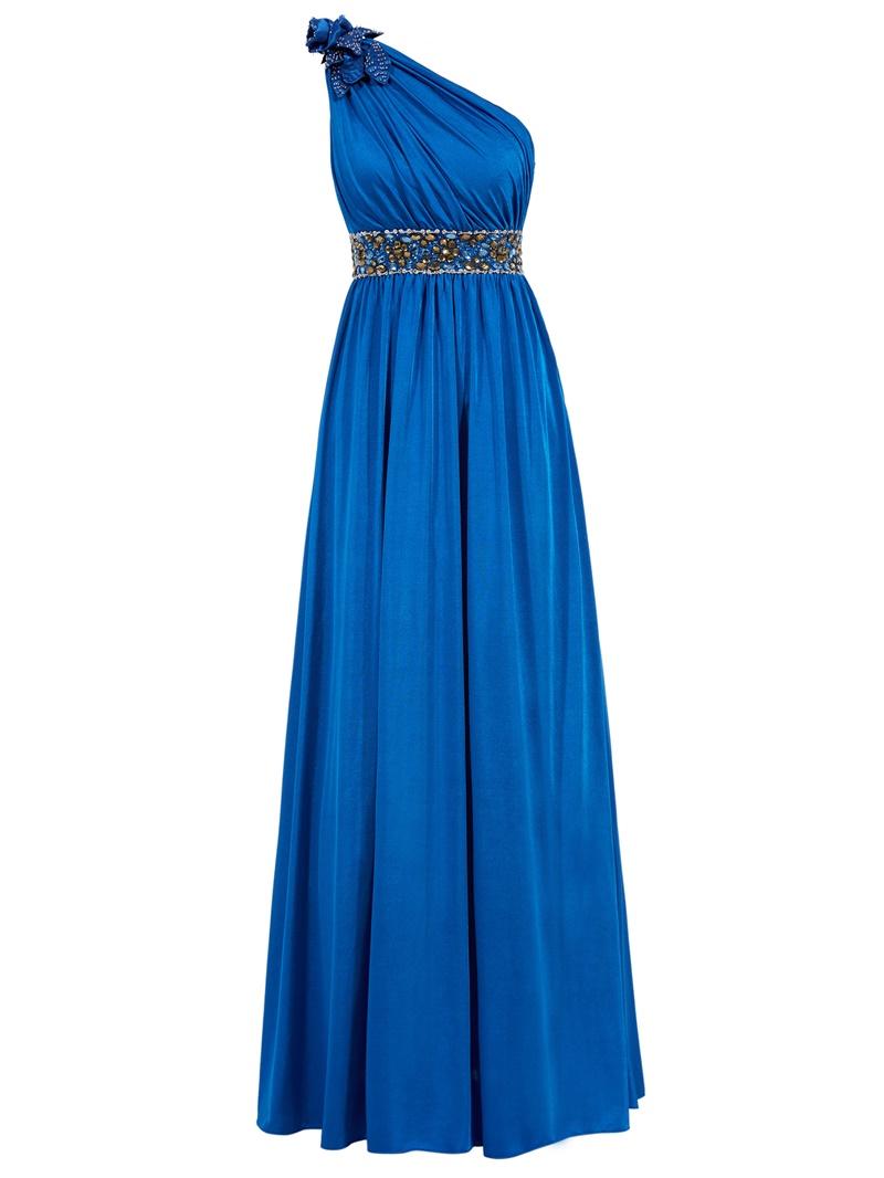 Ericdress A Line One Shoulder Pleats Beaded Floor Length Evening Dress