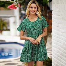 Ditsy Floral Ruffle Hem A-line Dress