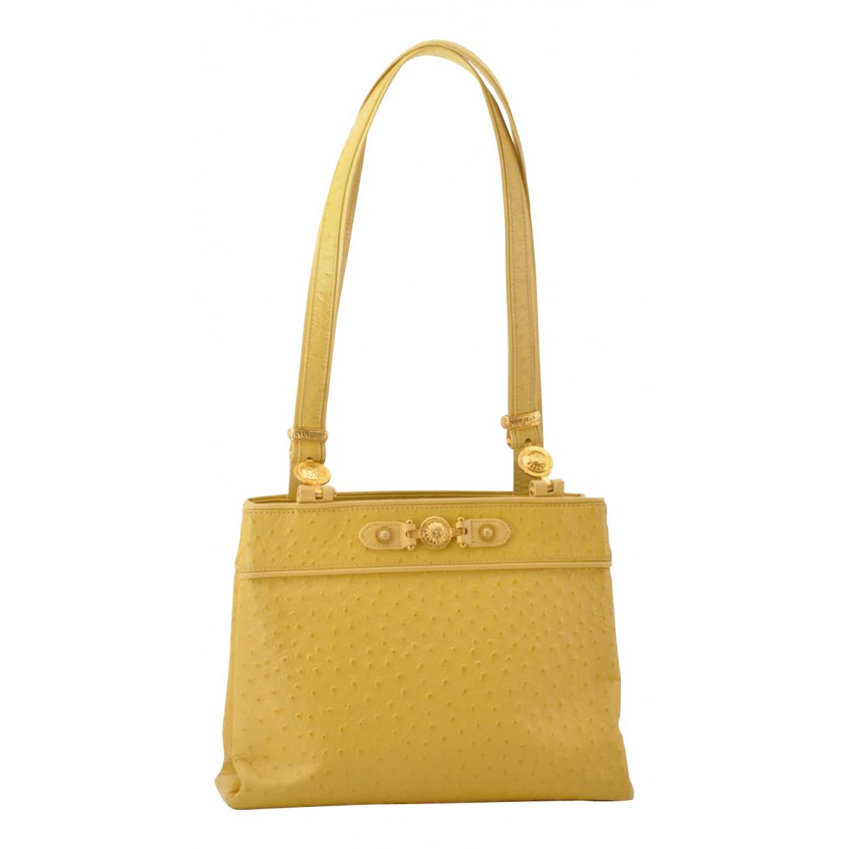 Versace - Sac a main   pour femme en autruche - jaune