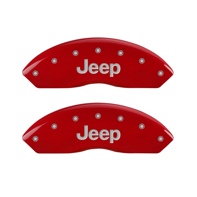 MGP Caliper Covers 42009FJEPRD Front Set of 2: Red finish, Silver JEEP / JEEP Jeep Wrangler 1997-2006