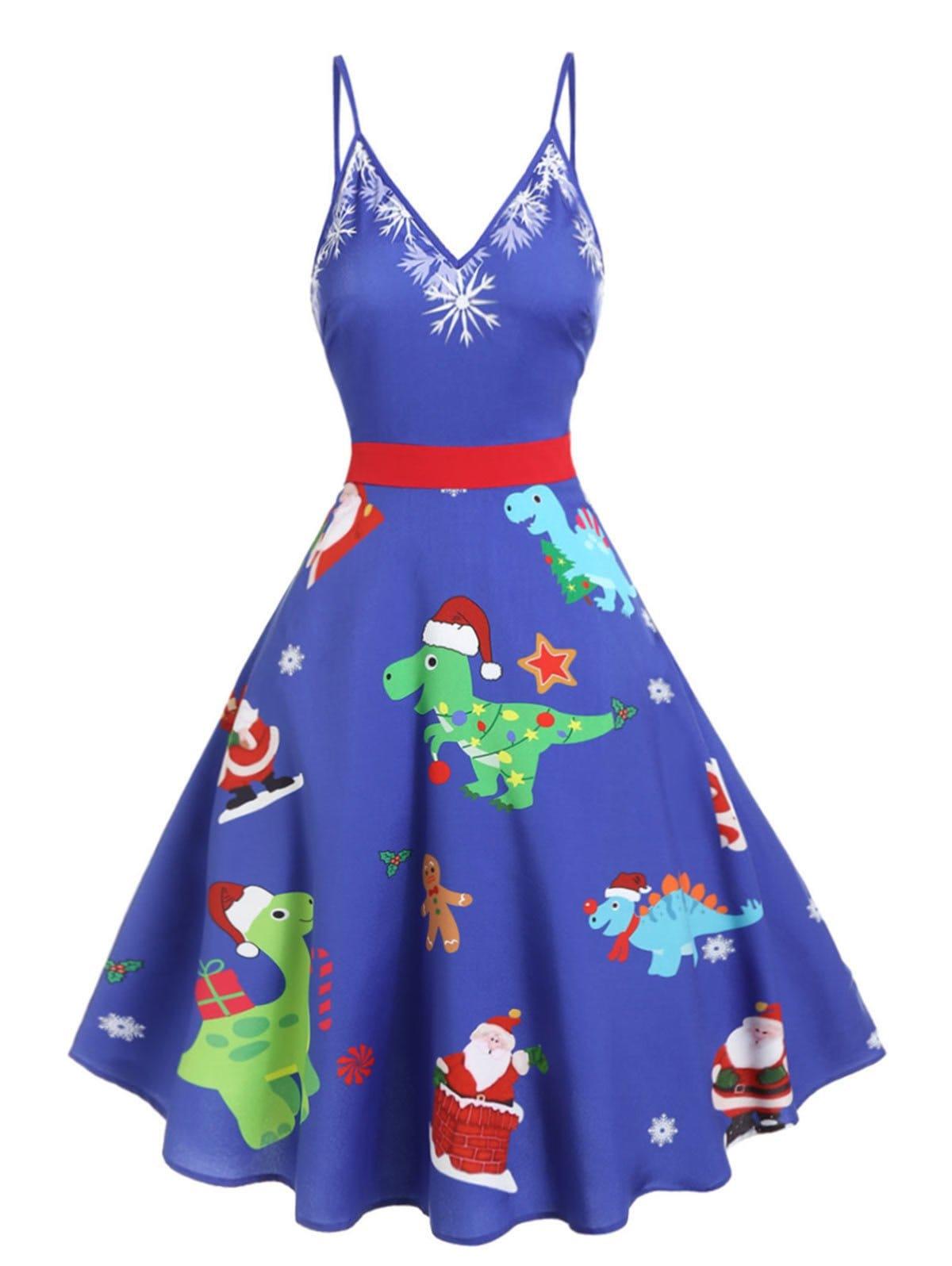 Christmas Dinosaur Print Cami A Line Dress