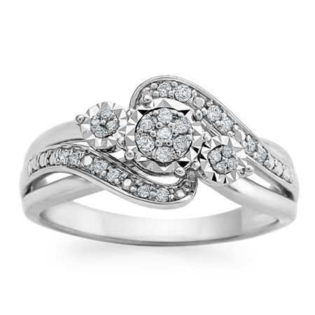 Womens 1/7 CT. T.W. Genuine White Diamond Sterling Silver Cocktail Ring, 9 , No Color Family
