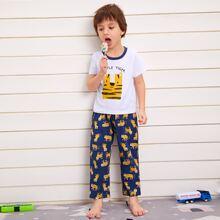 Toddler Boys Letter & Cartoon Graphic Pants PJ Set