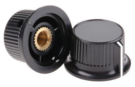 RS PRO Potentiometer Knob, Grub Screw Type, 28mm Knob Diameter, Black, Grey, 6mm Shaft (5)
