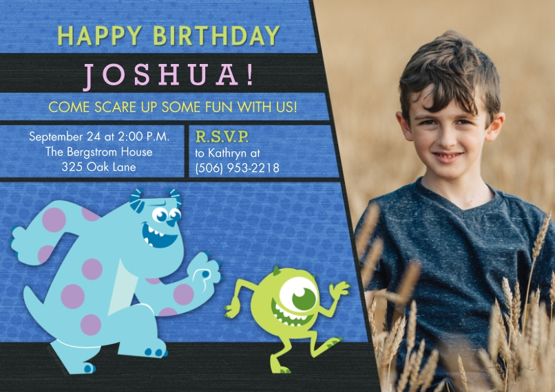 Kids Birthday Party Invites Flat Matte Photo Paper Cards with Envelopes, 5x7, Card & Stationery -Cute Dots - Monsters, Inc.