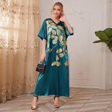 Satin Kleid mit V Kragen und tropischem Muster
