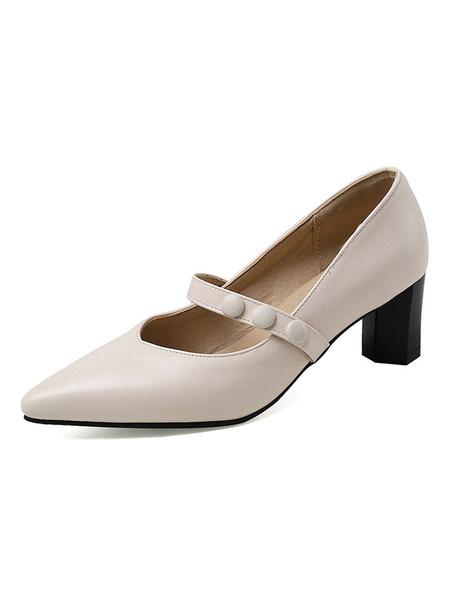 Milanoo Zapatos de tacon negro con tacon en punta para mujer Zapatos de tacon Mary Jane