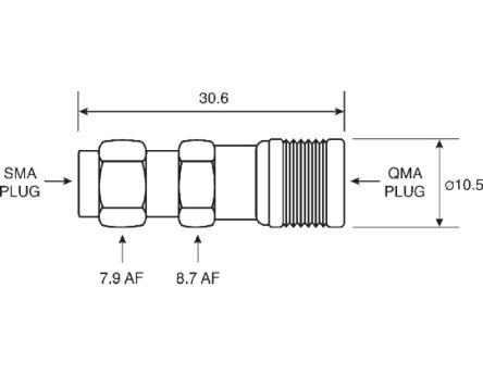 TE Connectivity Straight 50Ω RF Adapter QMA Plug to SMA Plug 6GHz