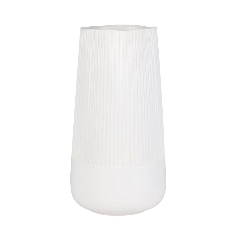 Vase aus Steinzeug, geriffelt weiss H30