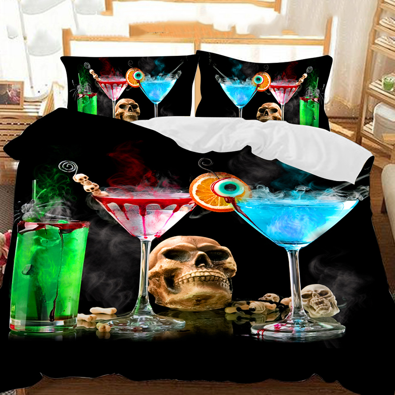Three Cocktails And A Skull On The Table Printed Polyester 3-Piece Bedding Sets/Duvet Covers