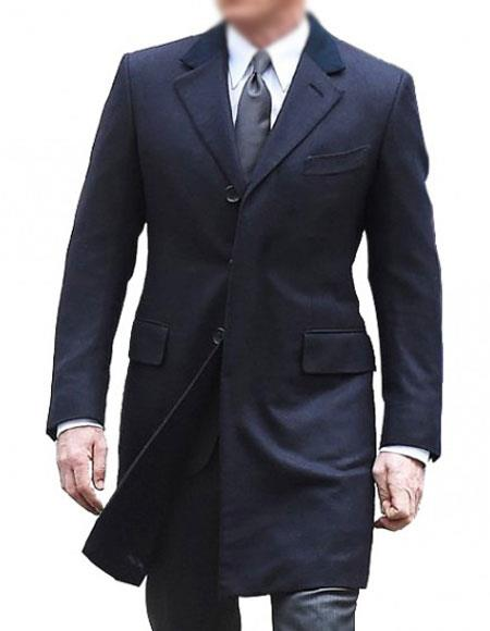 MenÕs Single Breasted Cotton Navy Blue coat