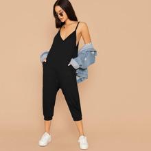 Double V Neck Hidden Pocket Cami Jumpsuit