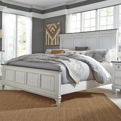 Allyson Park 417-BR-QPB Queen Size Panel Bed with Bead Molding and Softly Round Pilasters in Wirebrushed White