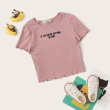 Maedchen Strick T-Shirt mit gekraeuseltem Saum und Buchstaben Stickereien