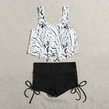 Marble Print Tie Side Shorts Bikini Swimsuit