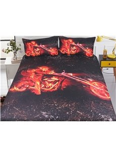 Cool Motorcycle And Fire Printed Polyester 3-Piece Bedding Sets/Duvet Covers