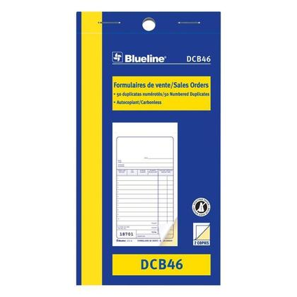 Blueline@ Sales Orders Carbonless Copy - duplicate,3-1/2 x 6-1/2