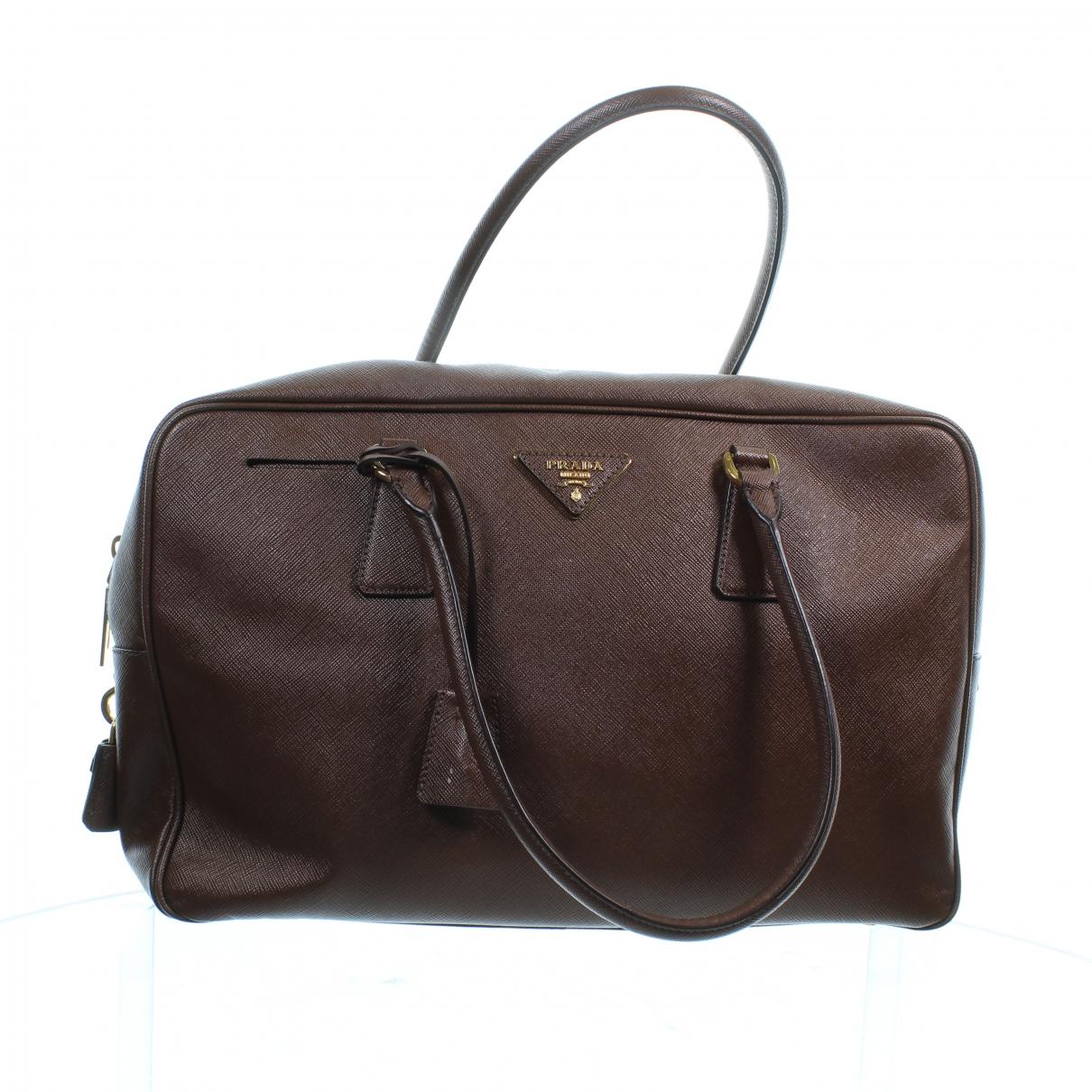 Prada saffiano  Handtasche in  Braun Leder