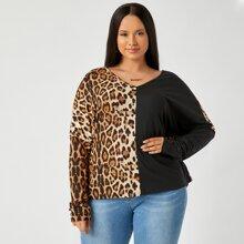 Top mit sehr tief angesetzter Schulterpartie, Farbblock und Leopard Muster