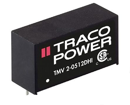TRACOPOWER TMV 2HI 2W Isolated DC-DC Converter Through Hole, Voltage in 10.8 → 13.2 V dc, Voltage out ±5V dc