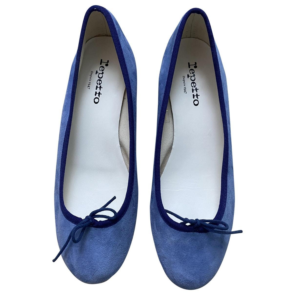 Repetto - Ballerines   pour femme en suede - bleu