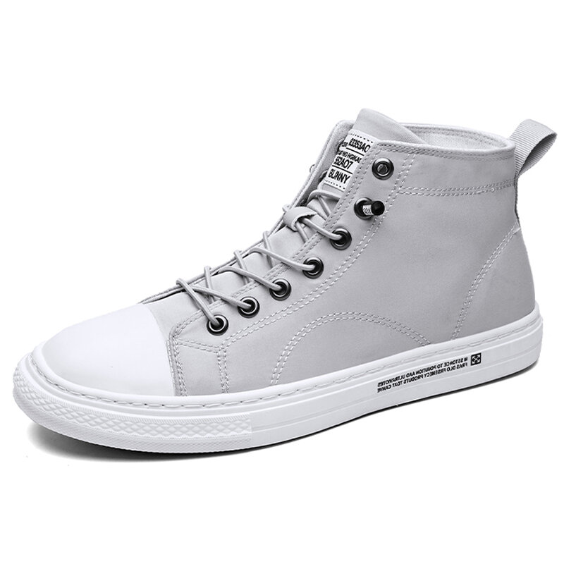 Men Washed Canvas Lace Up Stitching High Top Sneakers
