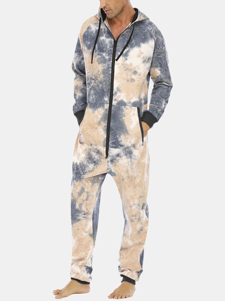 Tie Dye Cotton Mens Sports Casual Hooded Sweater Jumpsuit Homewear Kangaroo Pocket Loungewear Onesies