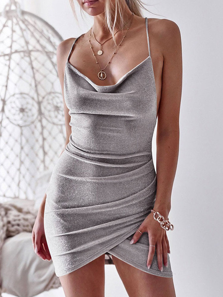 Milanoo Sexy Bodycon Dress Sleeveless Ruched Backless Shaping Minig Dress