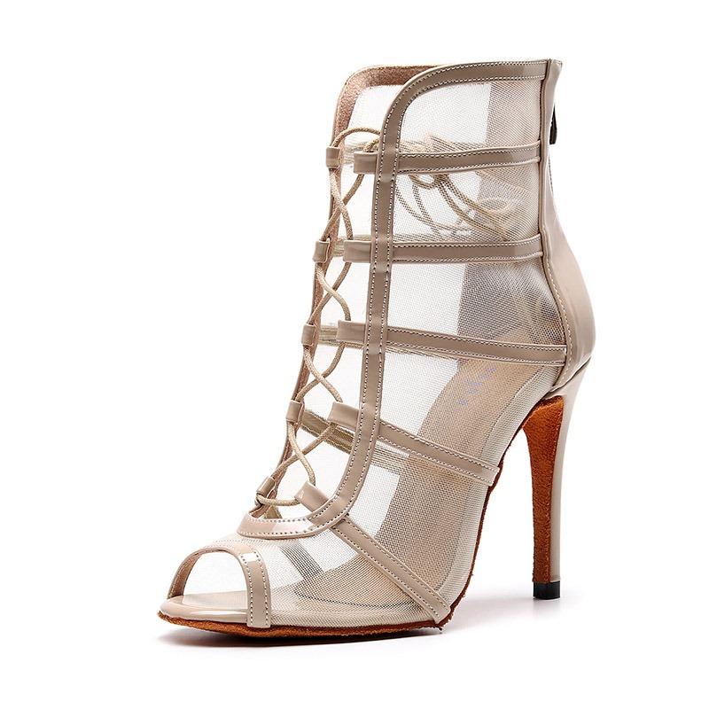 Ericdress Mesh Zipper Peep Toe Stiletto Heel Women's Ankle Boots