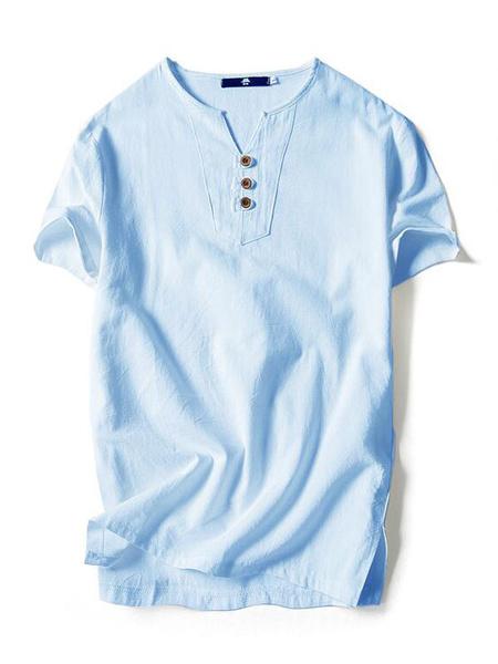 Milanoo Men Cotton Linen Top Plus Size T Shirt Button V Neck Short Sleeve Casual T Shirt