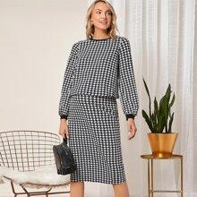 Maternity Houndstooth Print Top & Skirt Set