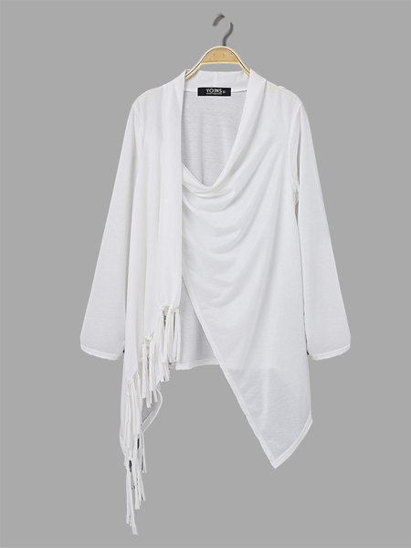 Yoins Sheer-through White Blouse with Tassel Details and Irregular Hem