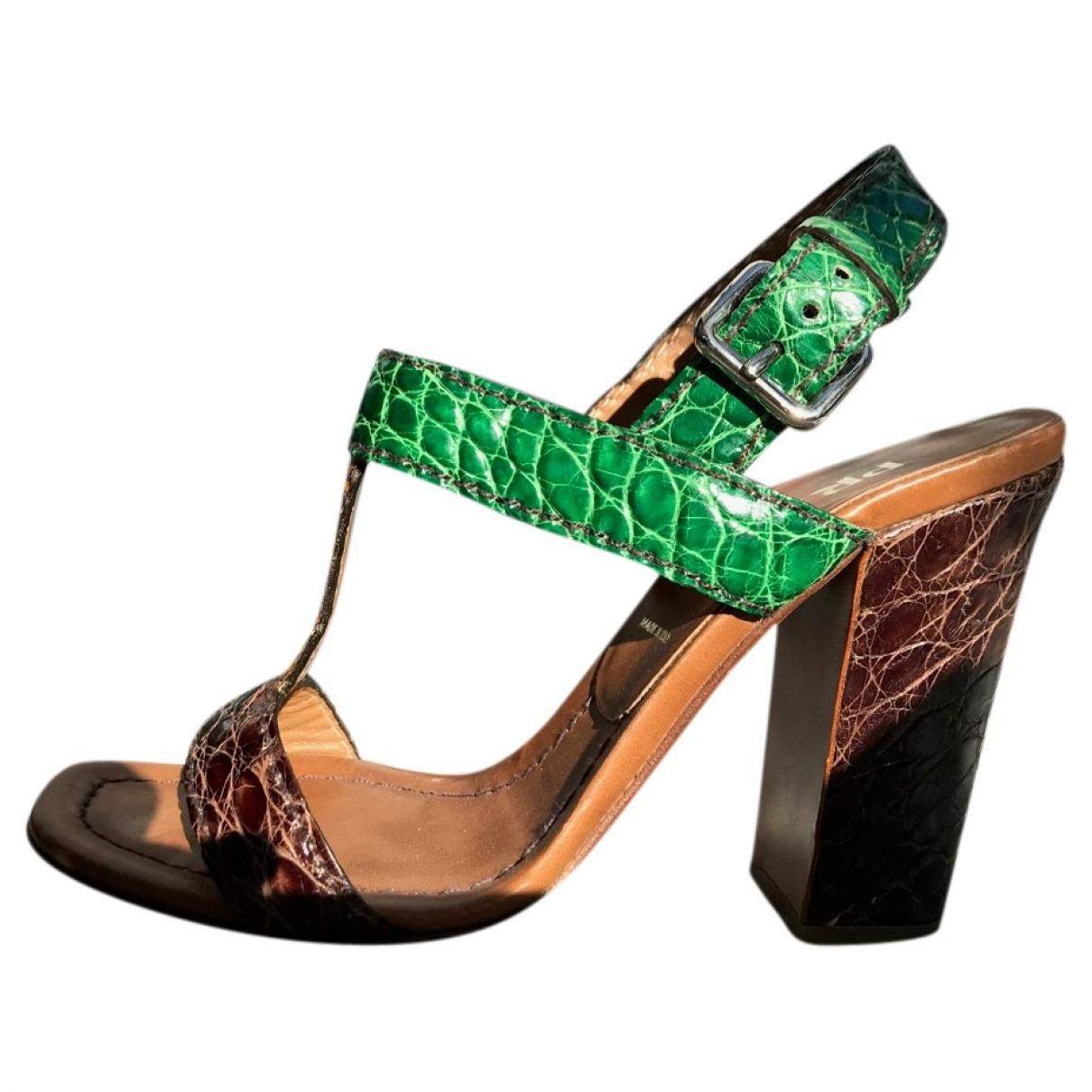 Prada - Sandales   pour femme en cuir - vert