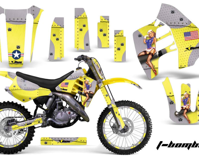 AMR Racing Graphics MX-NP-SUZ-RM125-90-92-TB Y Kit Decal Sticker Wrap + # Plates For Suzuki RM125 RM250 1990-1992 TBOMBER YELLOW