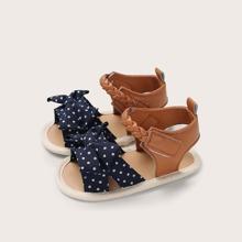 Baby Girl Bow Decor Polka Dot Sandals