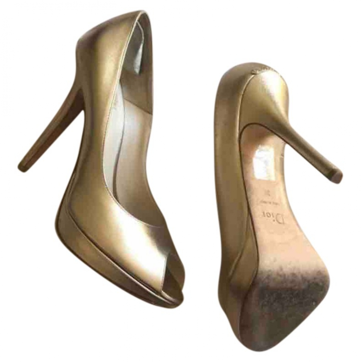 Dior - Escarpins Miss Dior Peep Toes pour femme en cuir - dore