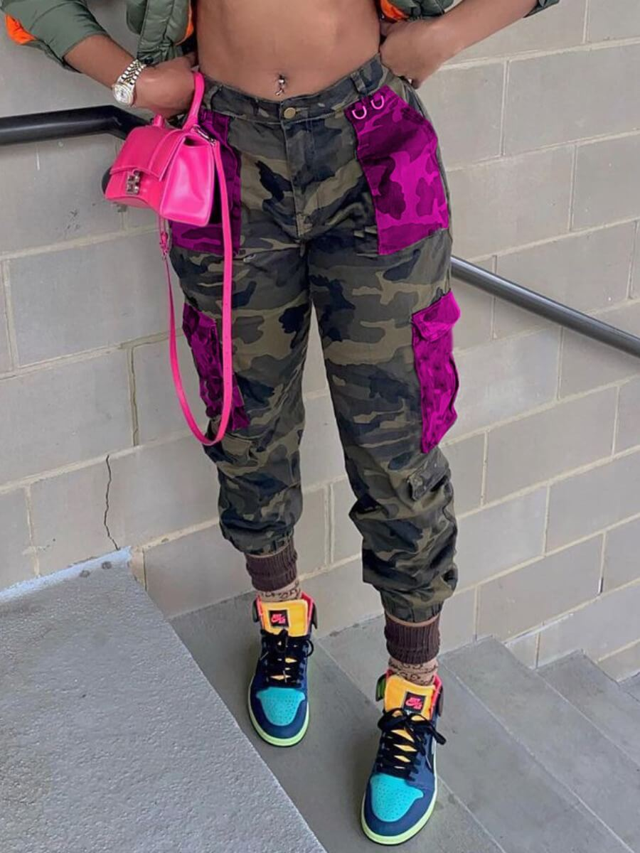 LW Lovely Casual Mid Waist Camo Print Patchwork Pants