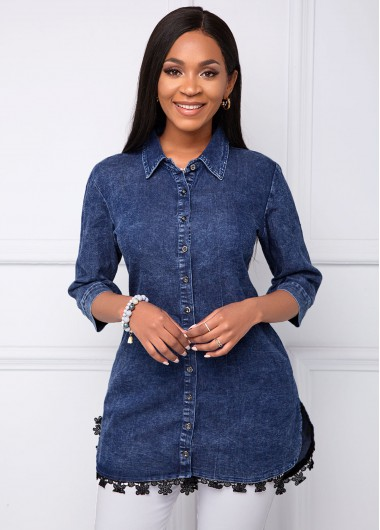 Button Up Lace Panel Turndown Collar Blouse - S