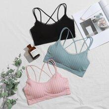 3pack Striped Lace Trim Bra Set