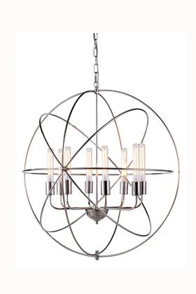 1453D32PN 1453 Vienna Collection Pendant Lamp D: 32 H: 33 Lt: 8 Polished Nickel