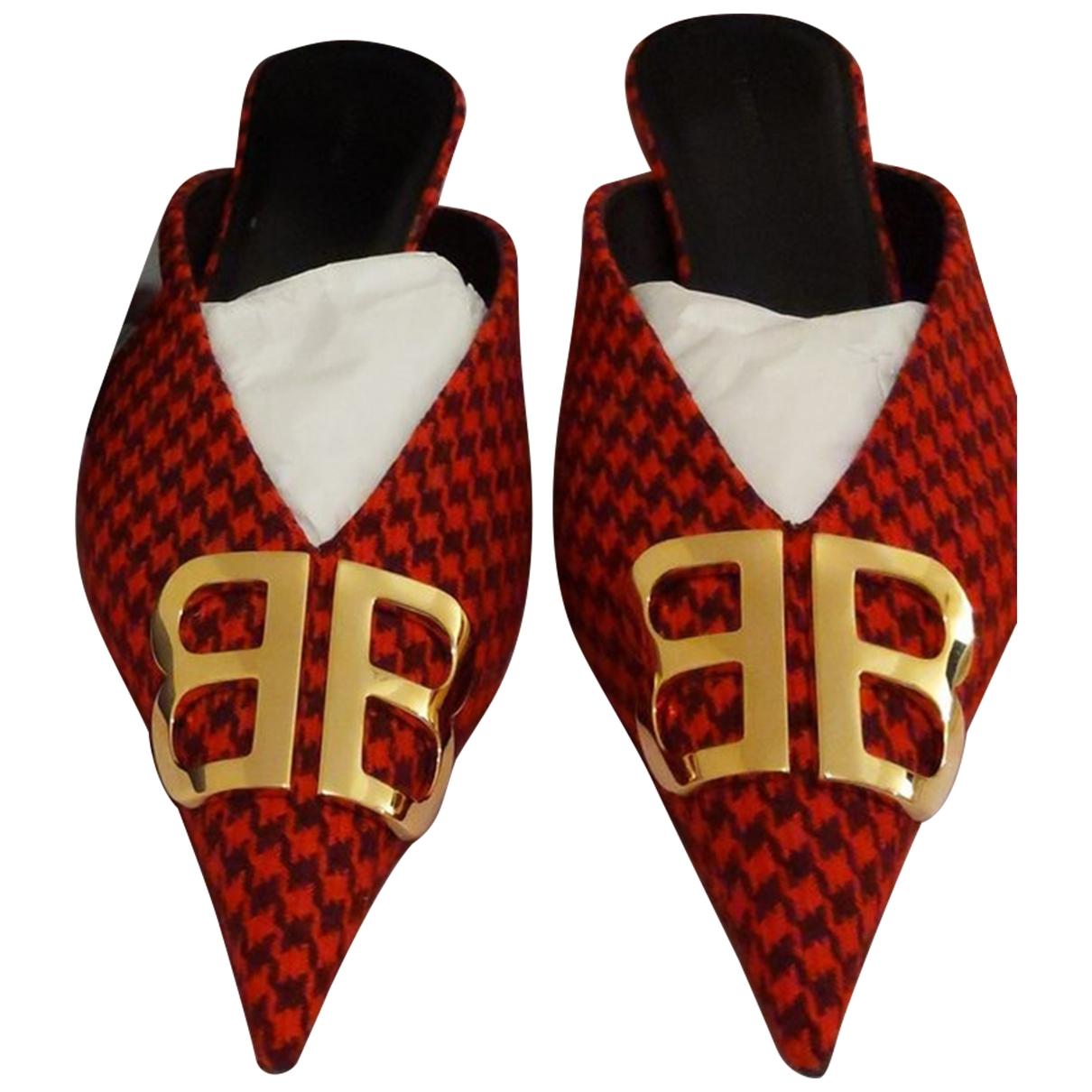 Balenciaga - Sandales   pour femme en tweed - rouge