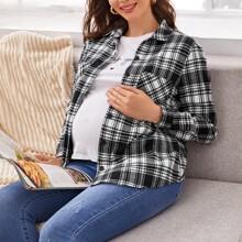 Maternidad camisa de cuadros con bolsillo delantero