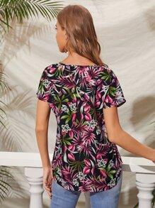 V-neck Tropical Print Top