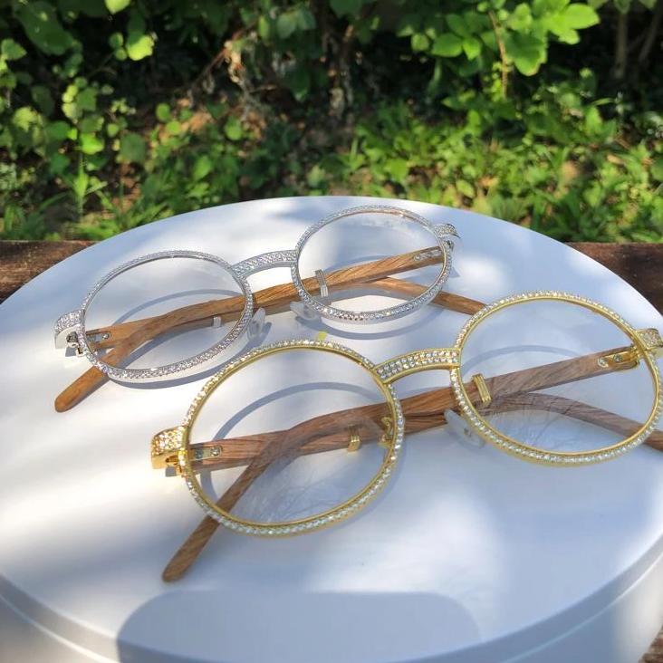 Bling Bling Sunglasses CZ Wooden Frames