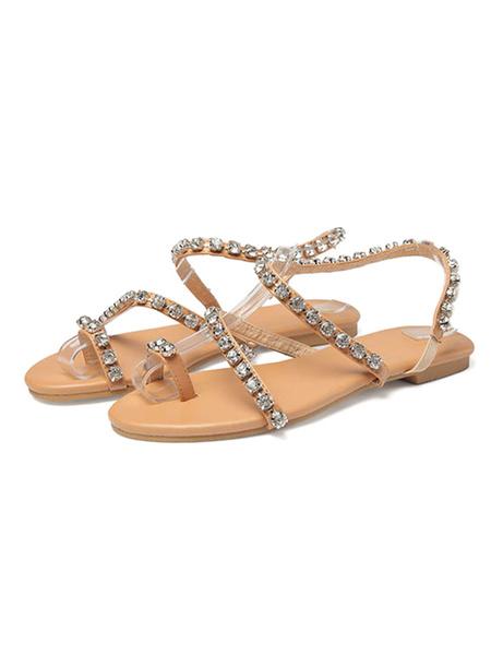 Milanoo Sandalias planas de dedo del pie Sandalias de playa de cristal Zapatos de mujer