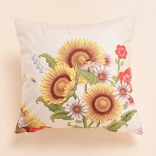 Sunflower Print Cushion Cover Without Filler